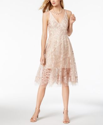 XSCAPE  damen New 1394 Beige Embroiderot Mesh Fit + Flare Dress 4 B+B
