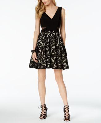 XSCAPE  damen New 1061 schwarz Illusion Detail Dress 14 Petites B+B