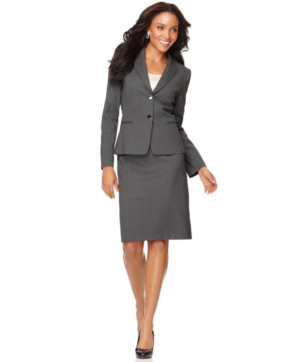 tahari new gray pinstripe peak collar two button jacket