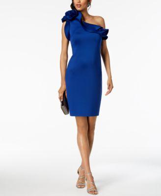 BETSY & ADAM  damen New 1134 Blau Ruffled One Shoulder Sheath Dress 14 B+B