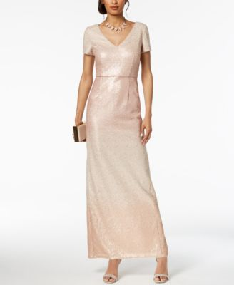 ADRIANNA PAPELL  damen New 1214 Rosa Sequined Ombre Gown Dress 2 B+B