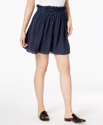MAISON-JULES-60-Womens-New-1197-Navy-Polka-Dot-Pleated-Mini-A-Line-Skirt-M-B-B