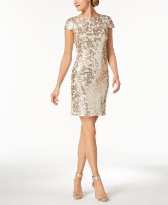 Details About Calvin Klein 169 Womens New 1131 Gold Sequined Cap Sleeve Sheath Dress 10 Bb