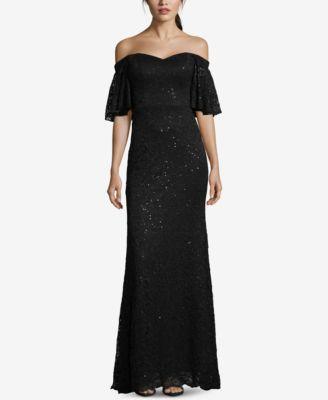 BETSY & ADAM  damen New 1284 schwarz Sequined Lace Gown Dress 6 B+B