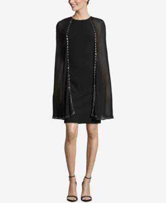 BETSY & ADAM  damen New 1122 schwarz Beaded Cape Sheath Dress 6 B+B