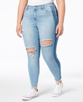 8ad0088173f7 CELEBRITY PINK $64 Womens New 1411 Light Blue Ripped Two Tone Jeans ...
