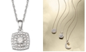 """Macy's Diamond Halo 18"""" Pendant Necklace (1/10 ct. t.w.) in Sterling Silver"""