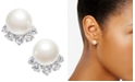 Eliot Danori Silver-Tone Crystal & Imitation Pearl Stud Earrings, Created for Macy's