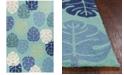 """Kas Harbor Palms 4228 Turquoise 5' x 7'6"""" Indoor/Outdoor Area Rug"""