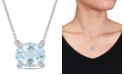 "Macy's Aquamarine (2-1/10 ct. t.w.) and Diamond Accent 17"" Necklace in 10k White Gold"