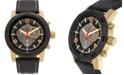 Buech & Boilat Baracchi Men's Chronograph Watch Black Leather Strap, White Stitching, Black/Grey Dial, Gold Case, 46mm