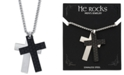 """He Rocks Silver and Black Double Cross Pendant Necklace In Stainless Steel, 24"""" Chain"""