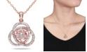 "Macy's Morganite (1-1/6 ct. t.w.) and Diamond (1/10 ct. t.w.) Trillium 18"" Necklace in 18k Rose Gold Over Silver"