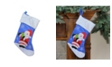 """Northlight 15"""" Blue Red and White Embroidered Santa Claus Christmas Stocking with White Cuff"""