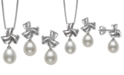 Macy's 2-Pc. Set Cultured Freshwater Pearl (7mm) & Diamond Accent Pendant Necklace & Matching Drop Earrings in Sterling Silver