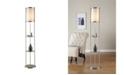 "Artiva USA Exeter Modern 63"" Brushed Steel Floor Lamp with Glass Shelf"