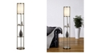 """Artiva USA Exeter 63"""" Floor Lamp with Durable Glass Shelf and Silk Shade"""