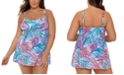 Swim Solutions Plus Size Palmalicious Printed Empire Tummy Control Swimdress, Created for Macy's
