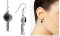 American West Black Agate (8 x 10mm) Drop Earrings in Sterling Silver