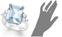 Macy's 14k White Gold Ring, Aquamarine (5-1/2 ct. t.w.) and Diamond (1/2 ct. t.w.) Emerald-Cut Ring