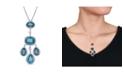 Macy's Blue Topaz (22 1/4 ct. t.w.) and Diamond (1 ct. t.w.) Geometric Drop Necklace in 18k White Gold
