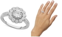 Macy's Diamond Flower Statement Ring (1/3 ct. t.w.) in Sterling Silver