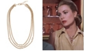 Grace Kelly Collection 18k Gold Plated Triple Strand French Chain Necklace