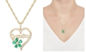"""Macy's Lab-Created Emerald (5/8 ct. t.w.) & Lab-Created White Sapphire (1/10 ct. t.w.) Grandma 18"""" Pendant Necklace in 10k Gold"""