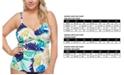 Raisins Curve Trendy Plus Size Juniors' Palm Springs Aries Tankini Top