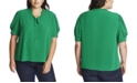 CeCe Plus Size Short Sleeve Ruffle V-Neck Top