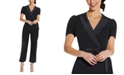 Adrianna Papell Cropped Crepe Jumpsuit