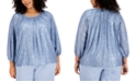 Alfani Plus Size Ruched Sequin Top, Created for Macy's