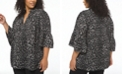 Michael Kors Plus Size Animal-Print Ruffled-Sleeve Top
