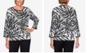 Alfred Dunner Women's Missy Knightsbridge Station Animal Jacquard Sweater