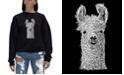 LA Pop Art Women's Word Art Crewneck Llama Sweatshirt