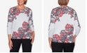 Alfred Dunner Women's Plus Size Knightsbridge Station Paisley Scroll Print Sweater