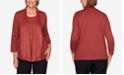 Alfred Dunner Women's Plus Size Catwalk Suede Trim Pointelle Two-For-One Sweater