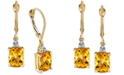 Macy's Citrine (3 ct. t.w.) & Diamond Accent Drop Earrings in 14k Gold
