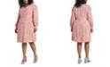 Vince Camuto Women's Plus Size Long Sleeve Animal Reset Print V-Neck Dress