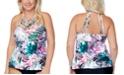 Raisins Curve Trendy Plus Size Boa Haute Bloom Strappy Tankini Top