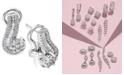 Macy's 14k White Gold Earrings, Diamond (1 ct. t.w.) Cluster Swirl Earrings