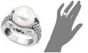 Macy's White Freshwater Pearl Braid-Band Ring in Sterling Silver (11mm)