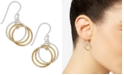 Giani Bernini Tri-Tone Interlocking Circle Drop Earrings in Sterling Silver, Gold-Plated Sterling Silver and Rose Gold-Plated Sterling Silver, Created for Macy's