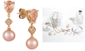 Le Vian Peach Morganite™ (1-1/2 ct. t.w.), Pink Cultured Freshwater Pearl (9mm), and Diamond Accent Drop Earrings in 14k Rose Gold