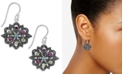 Macy's Marcasite & Colored Crystal Openwork Drop Earrings in Silver-Plate