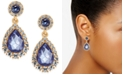 Charter Club Gold-Tone Crystal & Purple Stone Drop Earrings, Created for Macy's