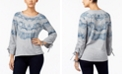 Style & Co Drawstring-Sleeve Printed Top, Created for Macy's