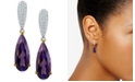 Macy's Amethyst (5 ct. t.w.) & Diamond (1/4 ct. t.w.) Drop Earrings in 14k Gold & White Gold