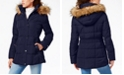 Tommy Hilfiger Hooded Puffer Coat with Faux Fur Trim