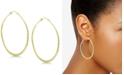 Essentials Textured Large Medium Hoop Earrings  in Gold Plate